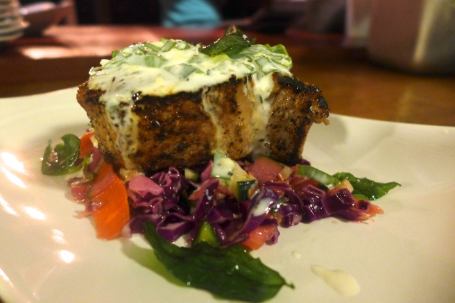 Tuna steak, wasabi yogurt, thai salad